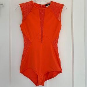 Carmen Marc Valvo Orange Mesh One Piece Swimsuit